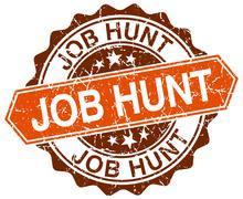 job hunt orange round grunge stamp on white - stock illustration