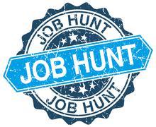 job hunt blue round grunge stamp on white - stock illustration