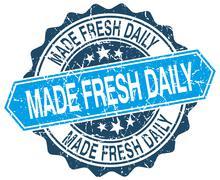made fresh daily blue round grunge stamp on white - stock illustration