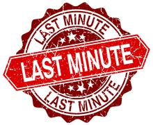 last minute red round grunge stamp on white - stock illustration