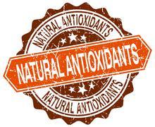 natural antioxidants orange round grunge stamp on white - stock illustration