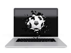 football destroy laptop - stock illustration