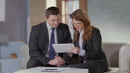 Stock Video Footage of Business partners friends enjoy company at meeting, slowmotion