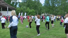 Flashmob. People and charging - 6(jumping) Stock Footage