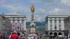 4K footage of the historical Hauptplatz (Main Square) in Linz, Austria Stock Footage
