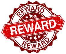reward red round grunge stamp on white - stock illustration