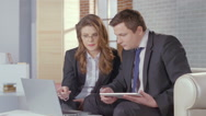 Stock Video Footage of Woman assistant presenting report to chief, business meeting