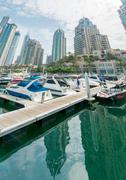 Stock Photo of Dubai - AUGUST 9, 2014: Dubai Marina district on August 9 in UAE. Dubai is