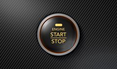 Push To Start Carbon Fibre Button Stock Illustration