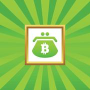 Bitcoin purse picture icon - stock illustration