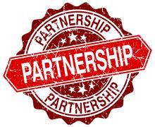 Partnership red round grunge stamp on white Stock Illustration