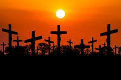 Sunset Crucifixion Stock Photos