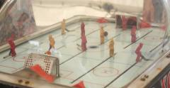 Oldschool toy table hockey game Stock Footage