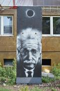 Albert Einstein Grafitti on the wall Stock Photos