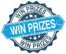 win prizes blue round grunge stamp on white - stock illustration