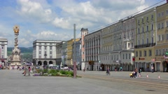 4K footage of the historical Hauptplatz (Main Square) in Linz, Austria - stock footage