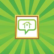 Cottage message picture icon - stock illustration