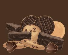 chocolate treats - stock illustration