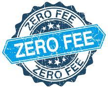 zero fee blue round grunge stamp on white - stock illustration