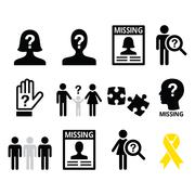 Missing people, missing child icons set - stock illustration
