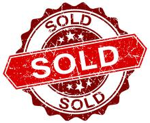 sold red round grunge stamp on white - stock illustration