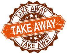 Stock Illustration of take away orange round grunge stamp on white