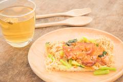 Wheat noodles with barbecued red pork Stock Photos