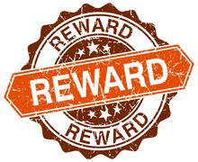 reward orange round grunge stamp on white - stock illustration