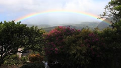 A rainbow over a garden in the tropics - stock footage
