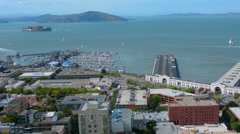 Panoramic aerial view of San Francisco bay waterfront and Alcatraz Island Stock Footage