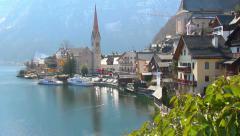 Beautiful swan moving towards nice cosy small village near lake - stock footage