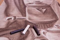 Artist's pastels and original pastel drawing of still life. Stock Photos