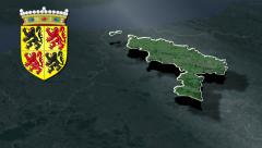 Hainaut whit Coat of arms animation map Stock Footage