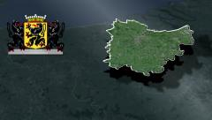 East Flanders whit Coat of arms animation map - stock footage