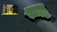 West Flanders whit Coat of arms animation map Stock Footage