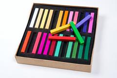 Close up view of the chalk pastels. - stock photo