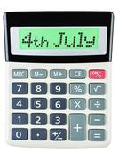 Calculator with 4th july on display - stock photo