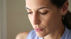 Woman With Fear Expression Stock Footage