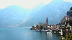 Wonderful place in Austrian Alps, Hallstatt village near lake Stock Footage