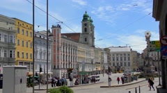 4K footage of the historical Hauptplatz (Main Square) in Linz, Austria Stock Footage