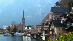 Nice mountain village in Austrian Alps, fantastic house of dream Stock Footage
