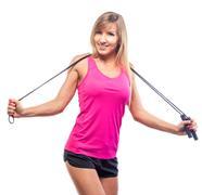 Woman aerobics rope isolated on white background Stock Photos