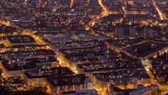 Stock Video Footage of Aerial view, big city day to night timelapse, energy consumption