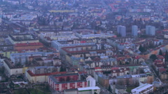 Aerial shot of evening megalopolis, intensive traffic time lapse - stock footage