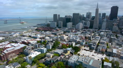 Aerial view of San Francisco financial center skyline Stock Footage