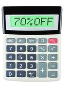 Calculator with 70OFF on display on white - stock photo