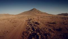 Aerial view of a runner at desert. Spain. 4K Stock Footage