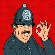English policeman in uniform and helmet shows gesture OK - stock illustration