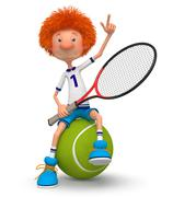 Boy tennis player - stock illustration