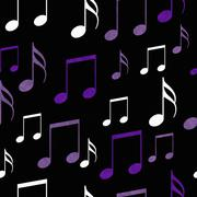Purple, Black and White Music Notes Tile Pattern Repeat Background Stock Illustration